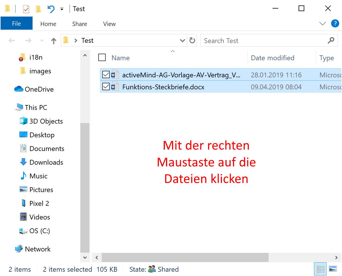 Word Dateien markieren