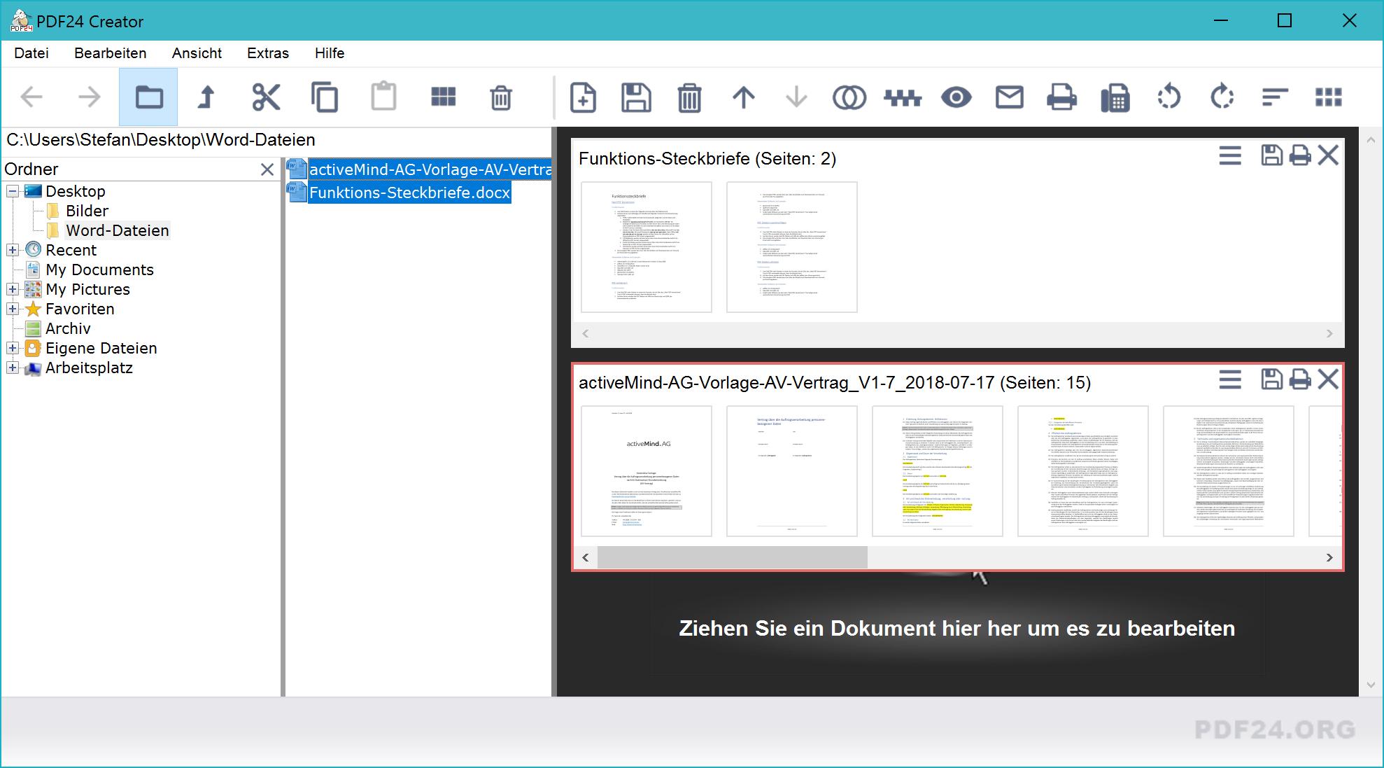 Word zu PDF mit PDF24 Creator