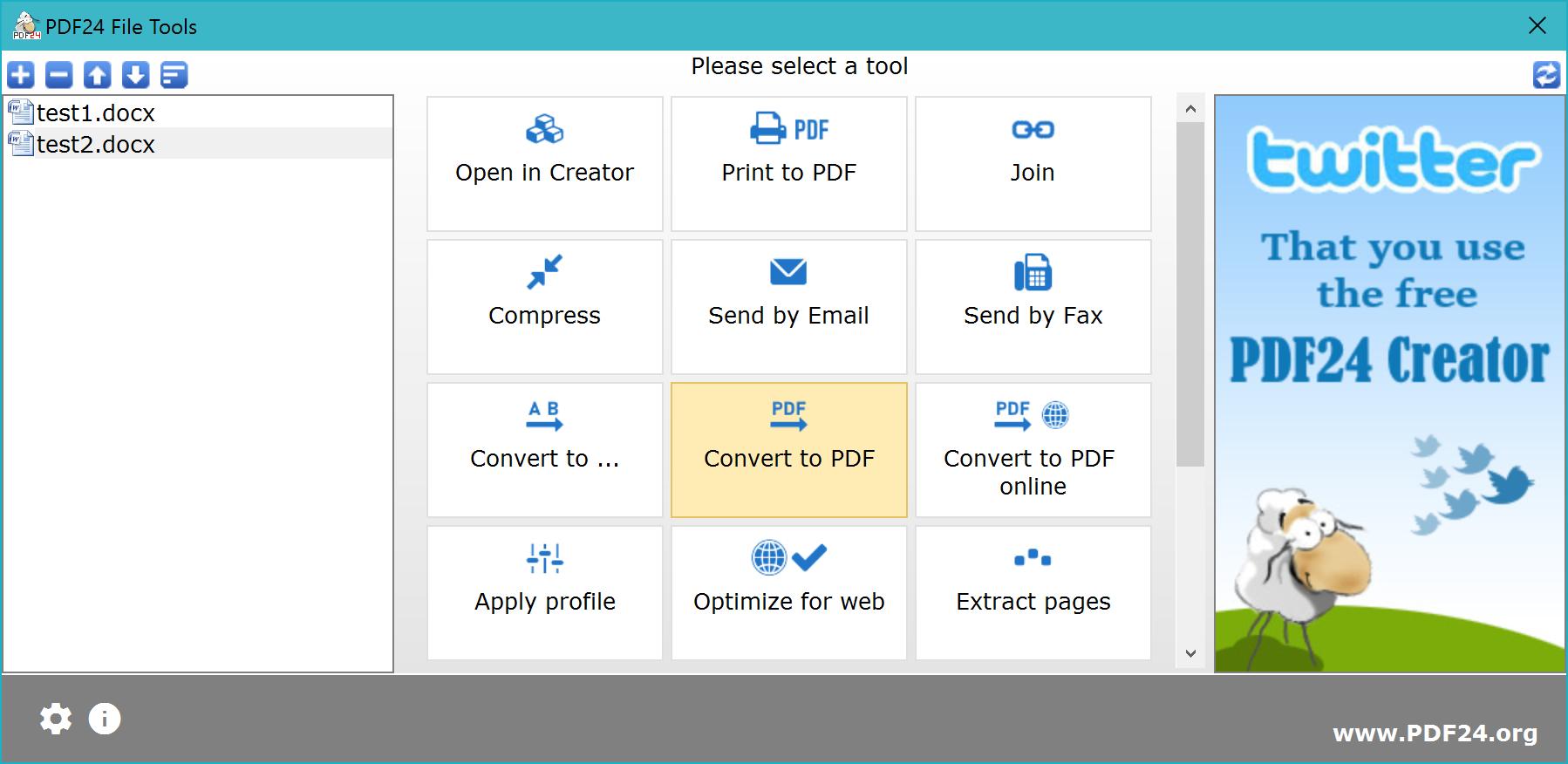 Click Convert to PDF