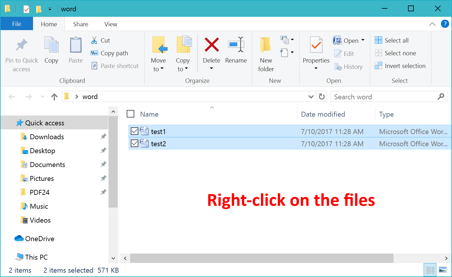 Right-click on the files to open context menu