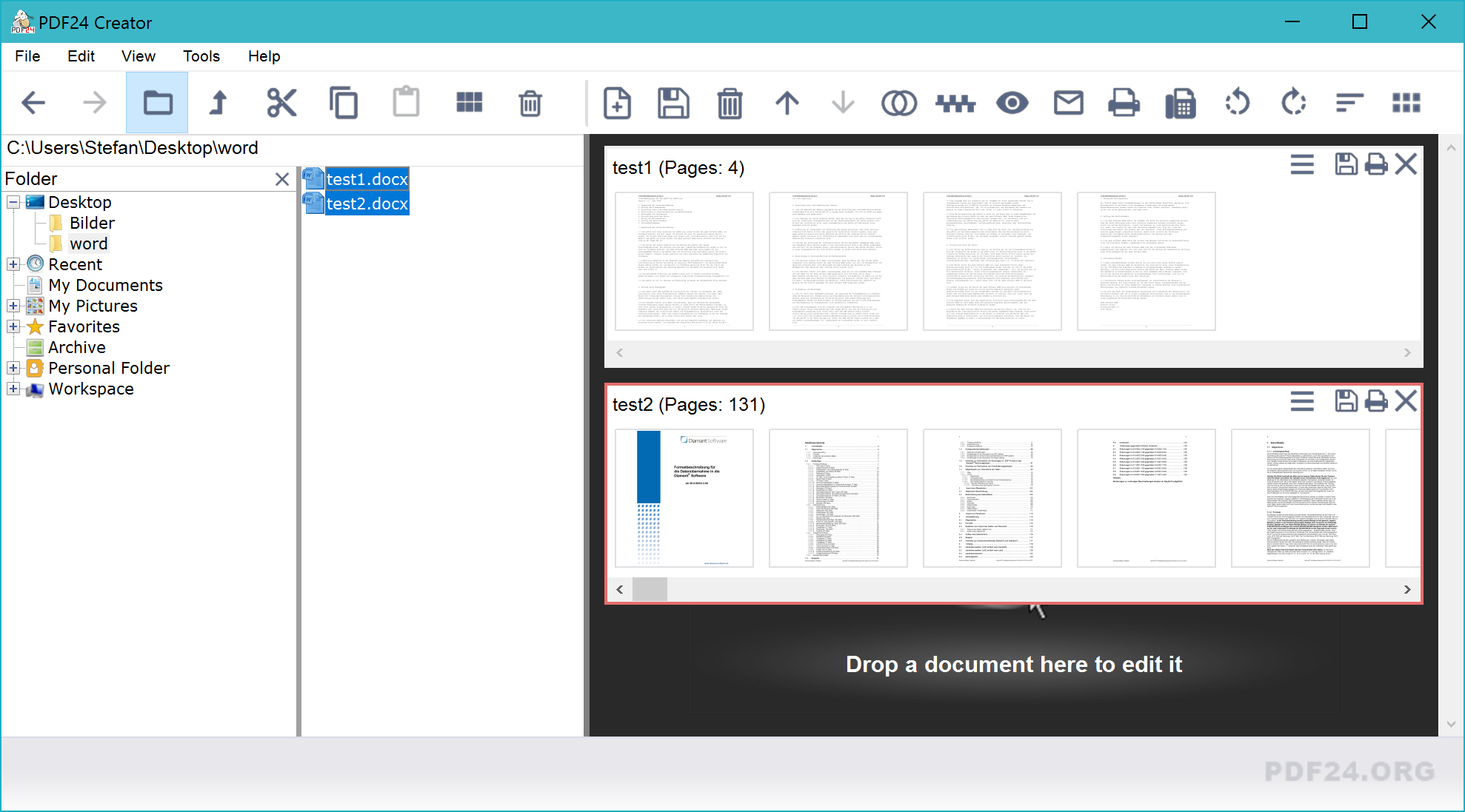 Word to PDF with PDF24 Creator
